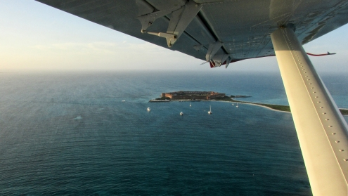 From the window of a DHC-3 Otter seaplane, Fort Jefferson seems to inhabit the exact middle of nowhere. In actuality, it commands a 75-mile-wide strait linking the Gulf and the Atlantic Ocean. Scores of shipwrecks dot the reefs and the vast shallows on either side of the strait.